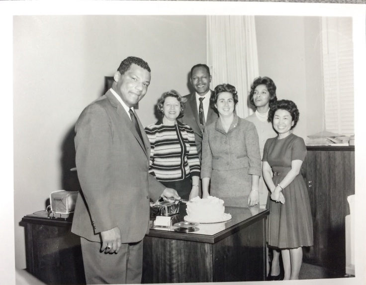 Rolland Curtis with Tom Bradley, his staff and Councilwoman Roz Wyman.
